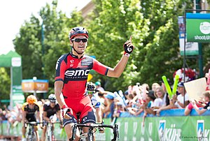 Greg Van Avermaet - Van Avermaet celebrating victory on Stage 1 of the 2013 Tour of Utah