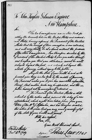 Tobias Lear - Letter from Lear to John Taylor Gilman of Exeter, New Hampshire, 1789