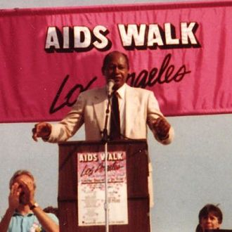 Tom Bradley (American politician) - Tom Bradley speaking at AIDS Walk LA at the Paramount Studios lot in 1988.