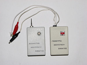 Signal generator - A pitch generator and a probe for locating a specific pair of wires amongst many, for example in a punch block.