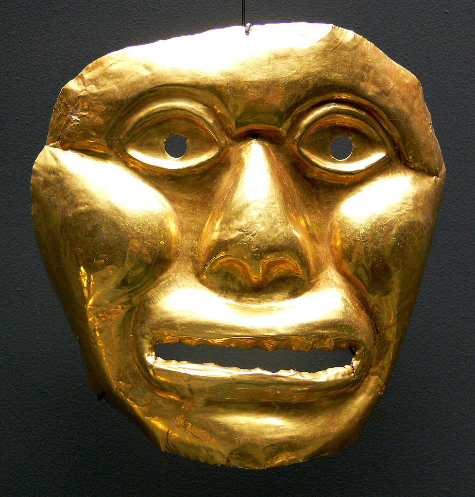 Masque funéraire colombien (-1000) au musée ethnologique de Berlin.