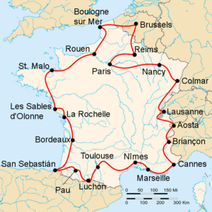 Route of the 1949 Tour de France followed counterclockwise, starting and finishing in Paris