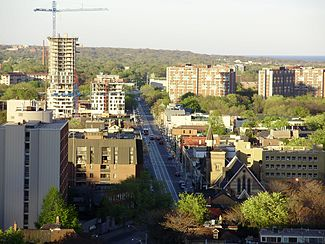 Looking down Dundas St. East in May 2008.