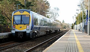 Derriaghy railway station - Image: Train, Derriaghy station (3)
