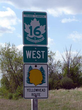 Saskatchewan Highway 16 - A Yellowhead Highway route marker in Saskatchewan.