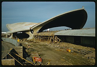 TWA Flight Center - Construction photo showing self-supporting thin-shell construction in 1962.