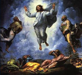Tabor Light - The upper part of The Transfiguration (1520) by Raphael, depicting Christ miraculously discoursing with Moses and Elijah.