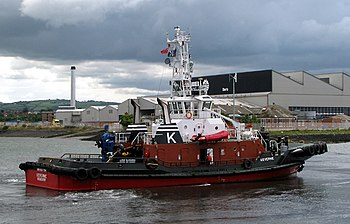 English: Tug 'Keverne' at Belfast The tug 'Kev...