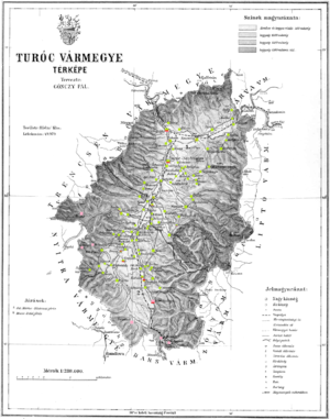 Turóc County - Ethnic map of the county with data of the 1910 census (see the key in the description).