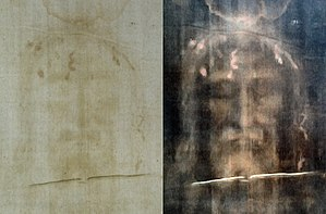History of photography - The Shroud of Turin: modern photo of the face, positive left, digitally processed negative image right