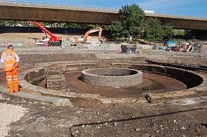 Westbourne Park tube station - Victorian Turntable excavated near the station
