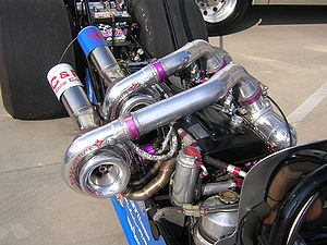 Turbocharged petrol engines - A pair of turbochargers mounted to an Inline 6 engine (2JZ-GTE from a MkIV Toyota Supra) in a dragster.
