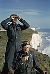 Two men of the Royal Observer Corps on a cliff top near Dover, 1943. TR1443.jpg