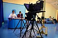 Two students of Indian Institute of Mass Communication reading news from a teleprompter 01.JPG