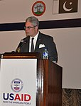 U.S. Consul General Lahore Zachary Harkenrider delivering remarks at the inauguration (22562812778).jpg