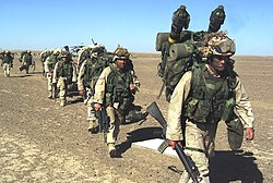 U.S. Marines humping in Afghanistan, November 2001
