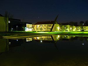Environmental Campus Birkenfeld - Central New Building in the center of the campus at night.