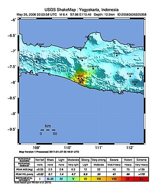 2006 Yogyakarta earthquake - USGS ShakeMap for the mainshock