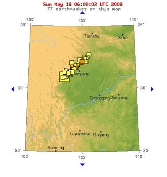 Longmenshan Fault - A USGS map of the Sichuan earthquake zone showing dozens of aftershocks within the Longmen Shan mountain region.