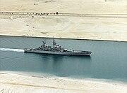 USS Bainbridge (CGN-25) underway in the Suez Canal on 27 February 1992