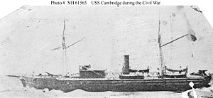USS Cambridge (1861-1865) Depicted during the Civil War. This 19th-century photographic print may be of an artwork, or possibly a model