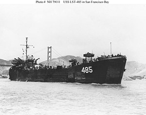 USS LST-485 underway in San Francisco Bay, California, 1946.