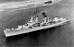 USS Morton (DD-948), October 1959, entering the harbor of Oranjestad, Aruba.