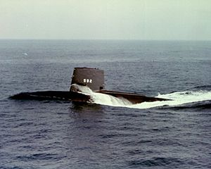 Portside view of the USS Snook (SSN-592) underway