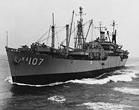 USS Vermilion (AKA-107) underway, circa in the 1950s (NH 107734).jpg
