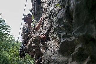 Army Mountain Warfare School - A U.S. Air Force TACP learns ascent techniques during summer BMMC