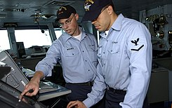 US Navy 020627-N-2781V-501 Quartermaster training aboard USS George Washington (CVN 73)