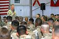 US Navy 050406-M-6717G-033 Commandant of the Marine Corps, Gen. Michael W. Hagee, speaks Marines currently based out of Camp Al Taqaddum.jpg