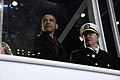 US Navy 090120-A-3085H-672 President Barack Obama and Chief of Naval Operations (CNO) Adm. Gary Roughead watch parade participants march by the reviewing stand during the 2009 Presidential Inaugural Parade.jpg