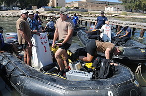 US Navy 091011-N-0260R-027 Sailors from Egyptian navy frogman units and U.S. Navy explosive ordnance disposal personnel prepare to get underway for a training evolution during Exercise Bright Star 2009.jpg