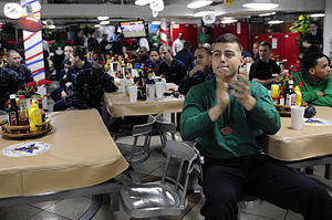 US Navy 120206-N-MD252-286 Sailors watch Super Bowl XLVI aboard the Nimitz-class aircraft carrier USS Carl Vinson (CVN 70).jpg