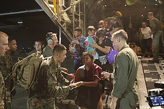 Humanitarian response to Typhoon Haiyan - U.S. Marines assisting in the Philippine disaster relief.