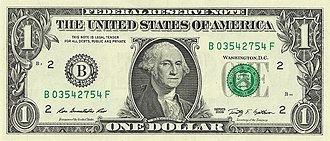 Cultural depictions of George Washington - Image: US one dollar bill, obverse, series 2009