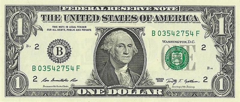 US one dollar bill, obverse, series 2009.jpg