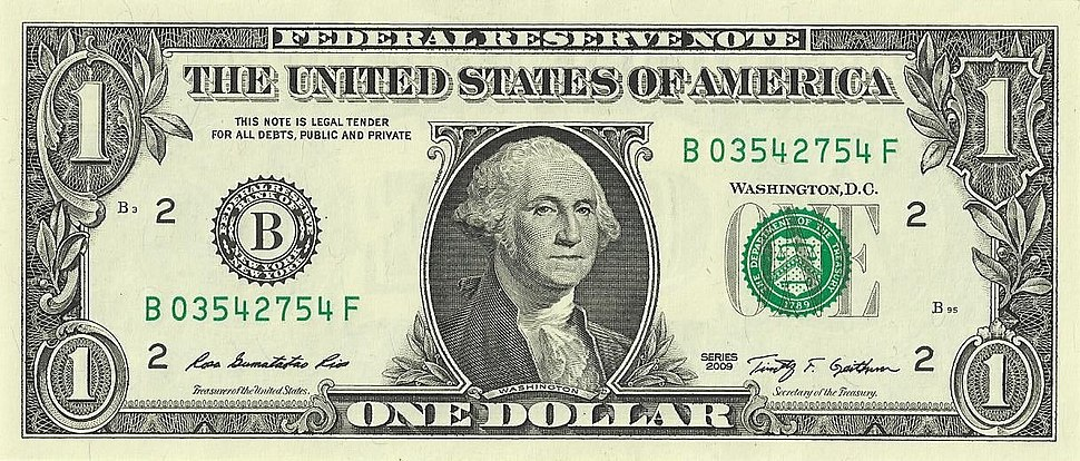US one dollar bill, obverse, series 2009