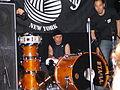 Uki Eiji of Melt-Banana dismantles his drum kit.JPG