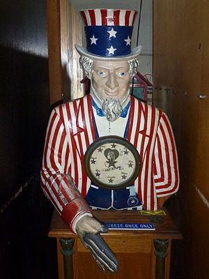 Musée Mécanique - Image: Uncle Sam carnival game....Hot Stuff meter