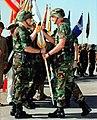 United States Army Forces Commander, Dennis J. Reimer, passes the III Corps and Fort Hood Colors to the incoming Commander of III Corps and Fort Hood, Lieutenant General Paul E. Fun - DPLA - d0d878d668f768d22ce1d3ebd1a6fe7f.jpeg