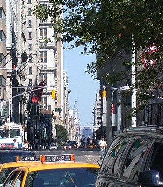 Broadway (Manhattan) - A view up Broadway from Bowling Green, with the Chrysler Building visible in the background