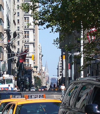 A view up Broadway from Bowling Green, with the Chrysler Building visible in the background Upbroadway e.jpg