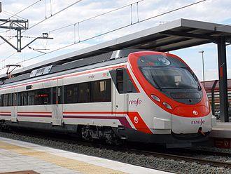 Renfe Operadora - A Cercanías Civia unit near Zaragoza.