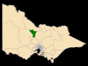 Electoral district of Bendigo East - Location of Bendigo East (dark green) in Victoria