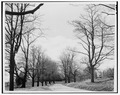 VIEW OF APPROACH TO HOUSE (EAST WING VISIBLE THROUGH TREES) - Fort Hill, Lloyd Neck, Lloyd Harbor, Suffolk County, NY HABS NY,52-LOHA.V,2-3.tif
