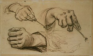 Drawings, water-colours and prints by Vincent van Gogh - Study of Hands, 1885, Van Gogh Museum