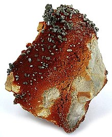 Vanadinite crystals showing burnt umber coloration