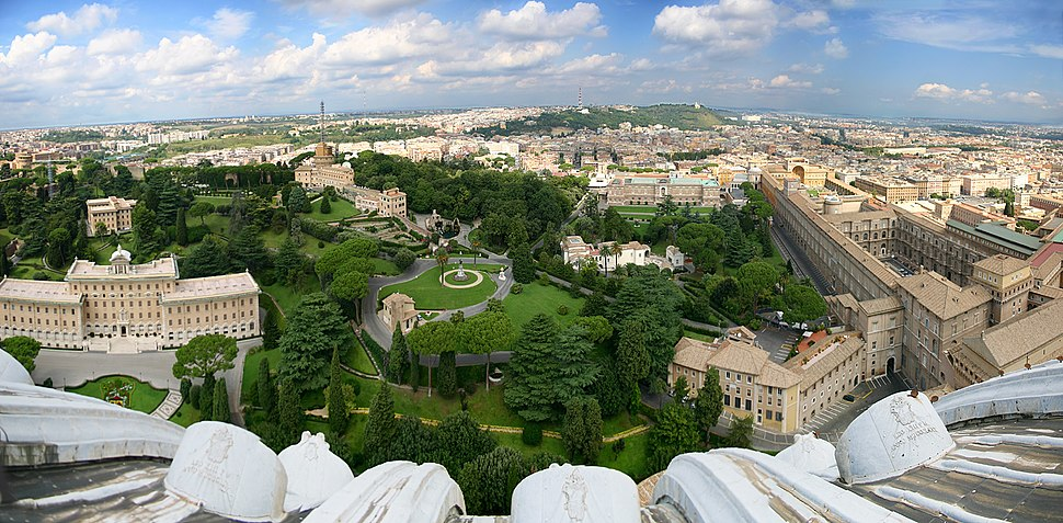 View of the Vatican Gardens from the dome of St. Peter's Basilica. (The Vatican Museums can be seen to the right).